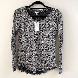 NWT Lucky Brand Black Paisley Long Sleeve Small